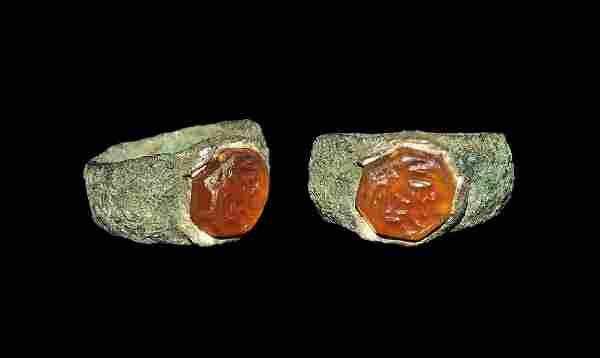 Roman Bronze Ring with Putti Intaglio