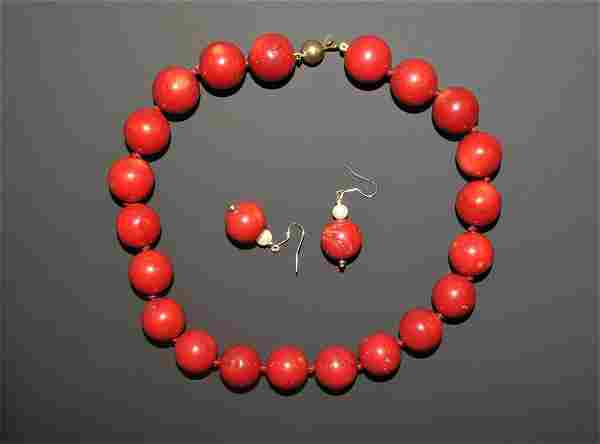 Vintage Coral-Coloured Bead Necklace with Earrings