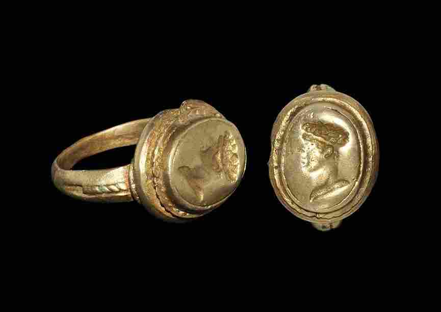 Roman Style Bronze Intaglio Ring with Profile Bust