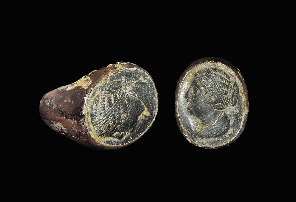 Romano-Egyptian Silver Queen Berenice I Bust Ring