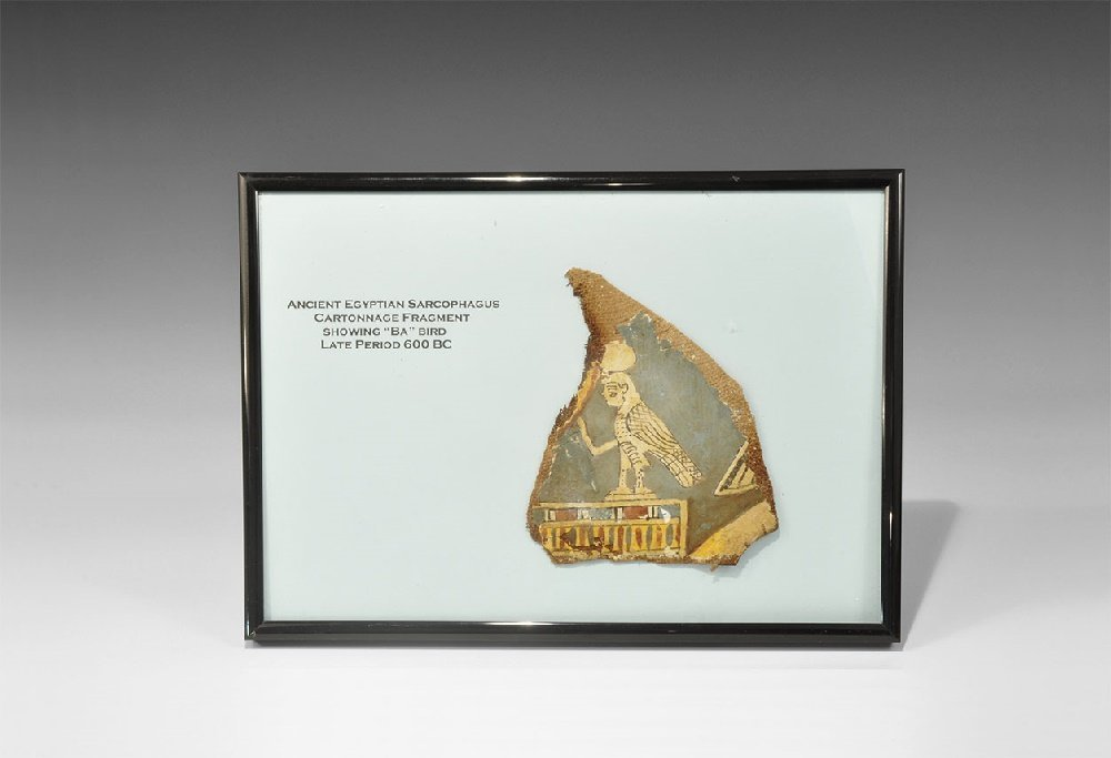 Egyptian Cartonnage Sarcophagus Fragment with Ba Bird