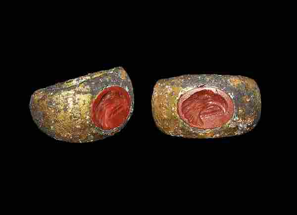 Roman Gilt-Bronze Ring with Jasper Military Eagle