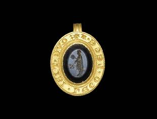 Medieval Gold Inscribed Seal Matrix with Roman Priest