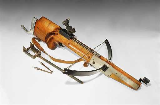 Vintage Swiss German Match Crossbow With Bolts And