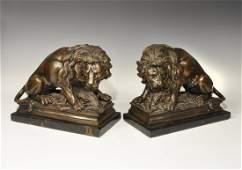 Post Medieval Bronze Lion Statuette Pair