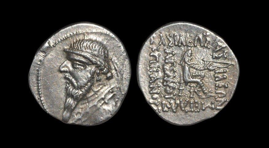 Ancient Greek Coins - Parthia - Mithradates II - Seated