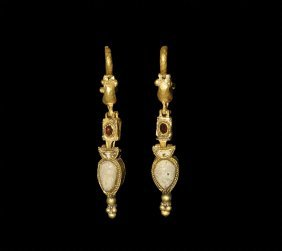 Greek Hellenistic Gold Earrings With Lunar Pendant
