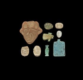 Egyptian Amulet And Scarab Group