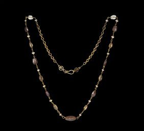 Byzantine Gold Chain With Amethyst, Crystal And Pearls