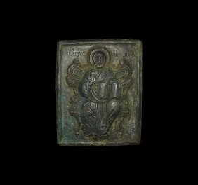 Post Medieval Inscribed Saint Nicholas Icon