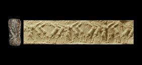 Western Asiatic Mesopotamian Cylinder Seal With Hero