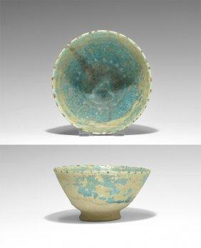 Islamic Kashan Blue Glazed Bowl