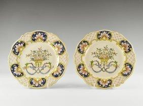 Antique Delft 'rouen' Glazed Plate Pair