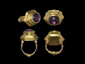 Greek Hellenistic Gold Hinged Ring With Amethysts