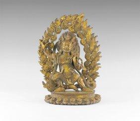 Tibetan Gilt Vajrapani Figurine