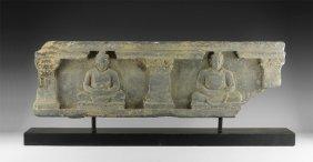 Gandharan Frieze With Seated Buddhas