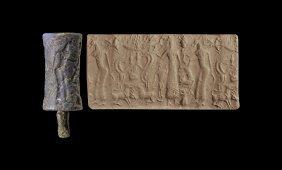 Western Asiatic Large Akkadian Lapis Lazuli Cylinder