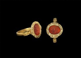 Medieval Gold Ring With Magical Signs