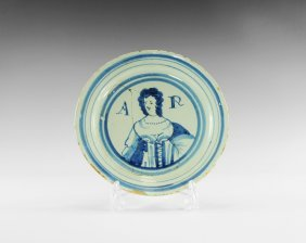 Post Medieval English Delft Queen Anne Portrait Plate