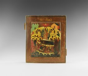 Post Medieval Russian Icon Of Dormition Of The Virgin