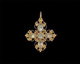 Post Medieval Gold Jewelled Cross Pendant