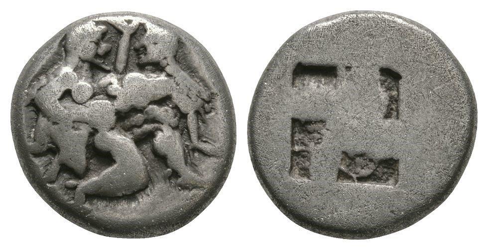 Ancient Greek Coins - Thasos - Satyr Drachm