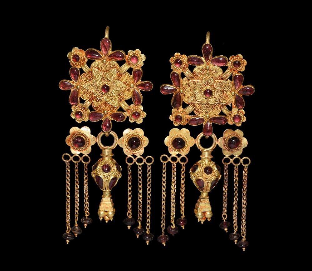 Greek Gold and Garnet Earrings