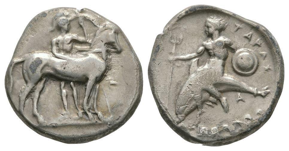 Ancient Greek Coins - Tarentum - Taras on Dolphin