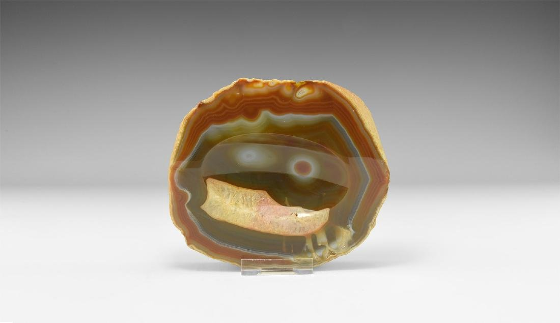 Rare 'Winking Smiley Face' Agate Dish.