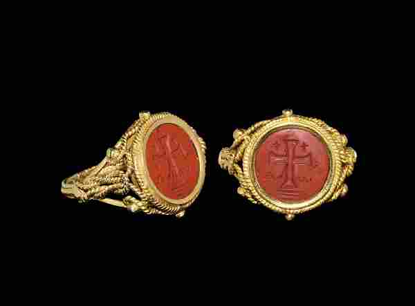 Post Medieval Gold Ring with Jasper Intaglio