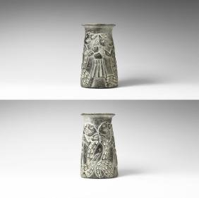 Western Asiatic Bactrian Vase with God & 2 Serpents