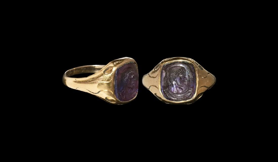 Post Medieval Memorial Ring with Amethyst Intaglio
