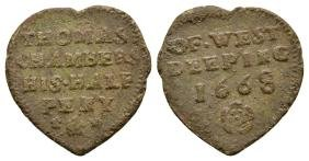Tokens - 17th C - Lincolnshire/Chambers - Heart ½d