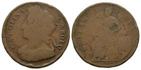 English Milled Coins - Charles II - 1673 - Halfpenny