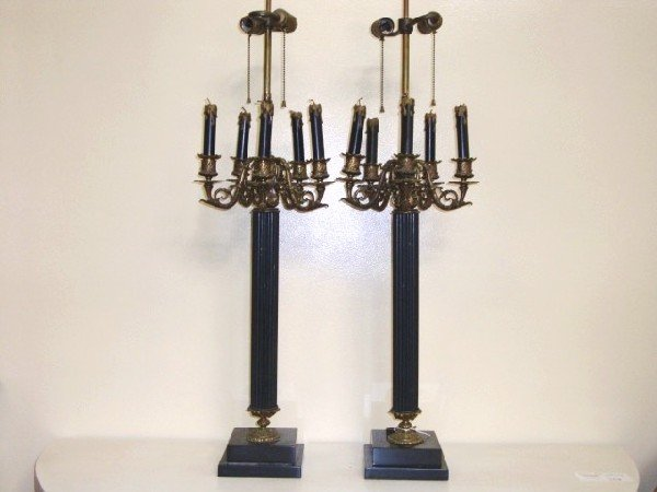 4: Pr. Brass & Metal Empire style candelabra lamps