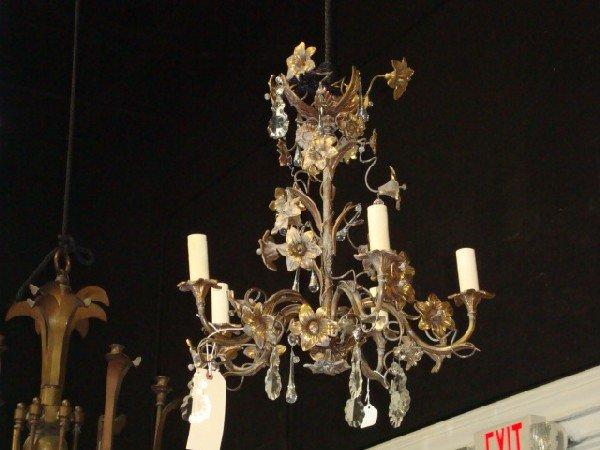 11: French style brass & prism chandelier