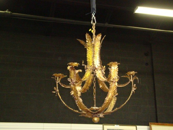 15: Pair Large Italian Gilt Iron Chandeliers