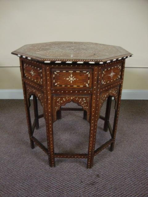 206: Moroccan Ivory Inlaid Table