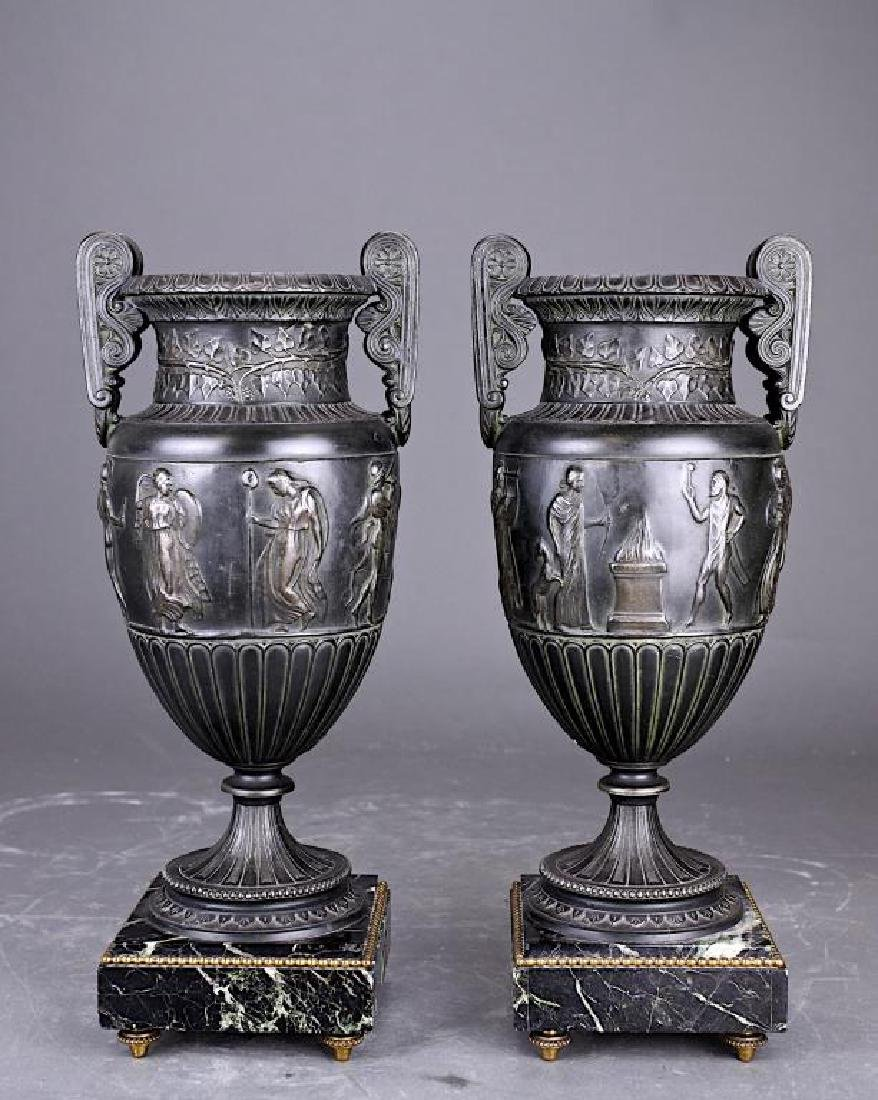 PAIR OF EUROPEAN BRONZE VASES WITH MARBLE STAND