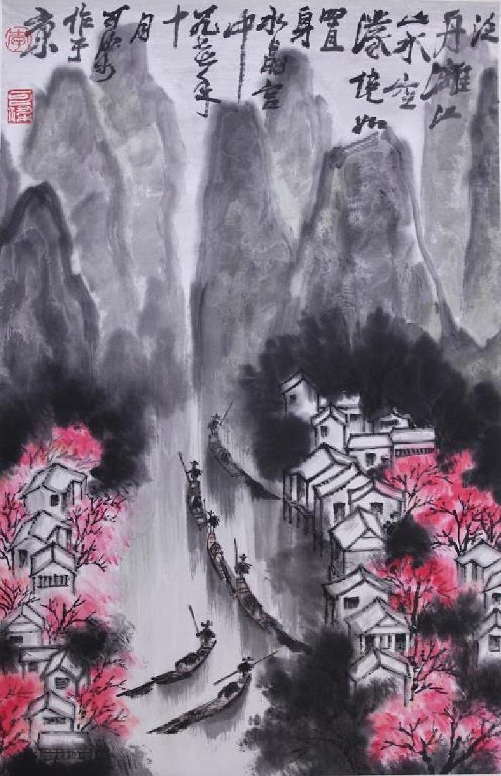 CHINESE SCROLL PAINTING OF A RIVER