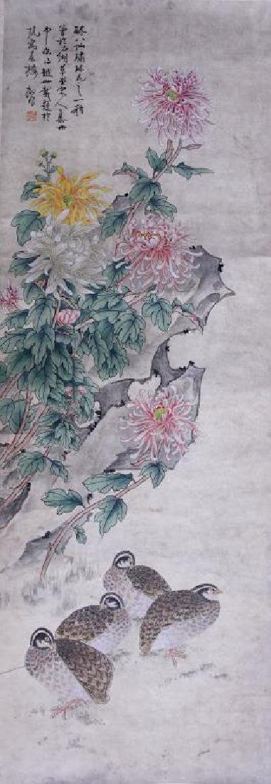 CHINESE SCROLL PAINTING OF BIRDS AND CHRYSANTHEMUM