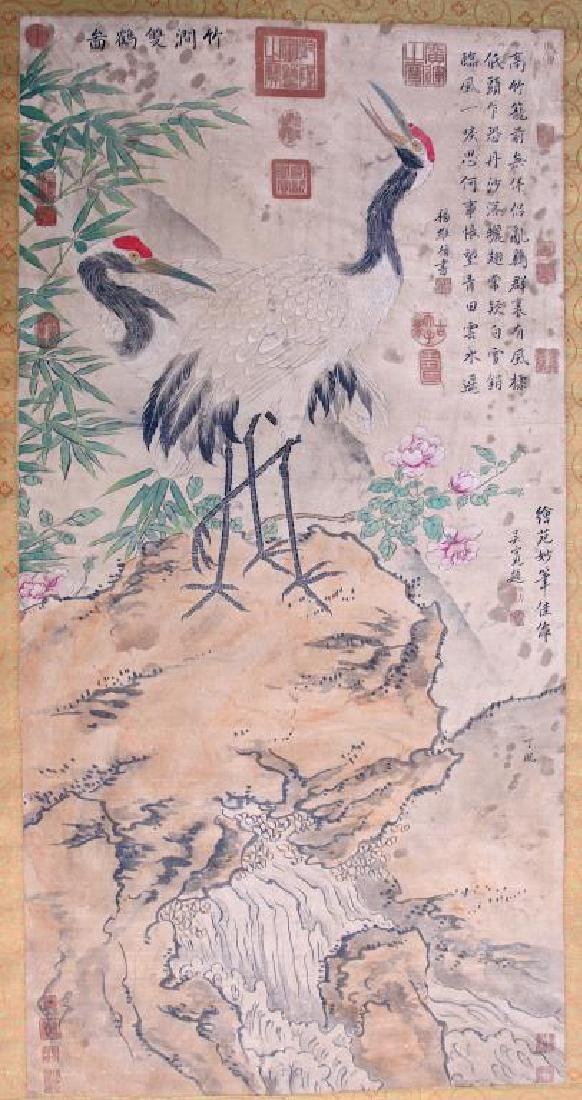 CHINESE SCROLL PAINTING OF TWO CRANES AND BAMBOO