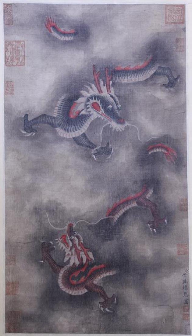 CHINESE SCROLL PAINTING OF TWO DRAGONS