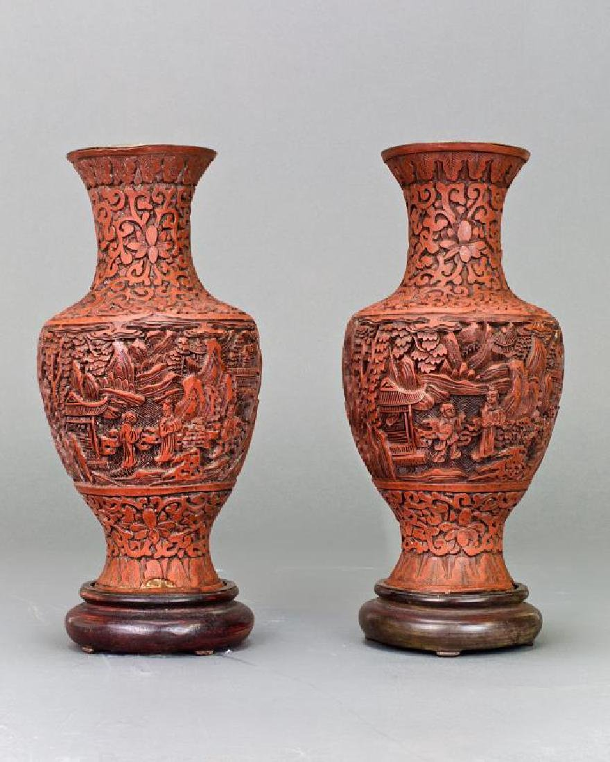 ANTIQUE 19TH C. PAIR OF CARVED RED LACQUER VASES