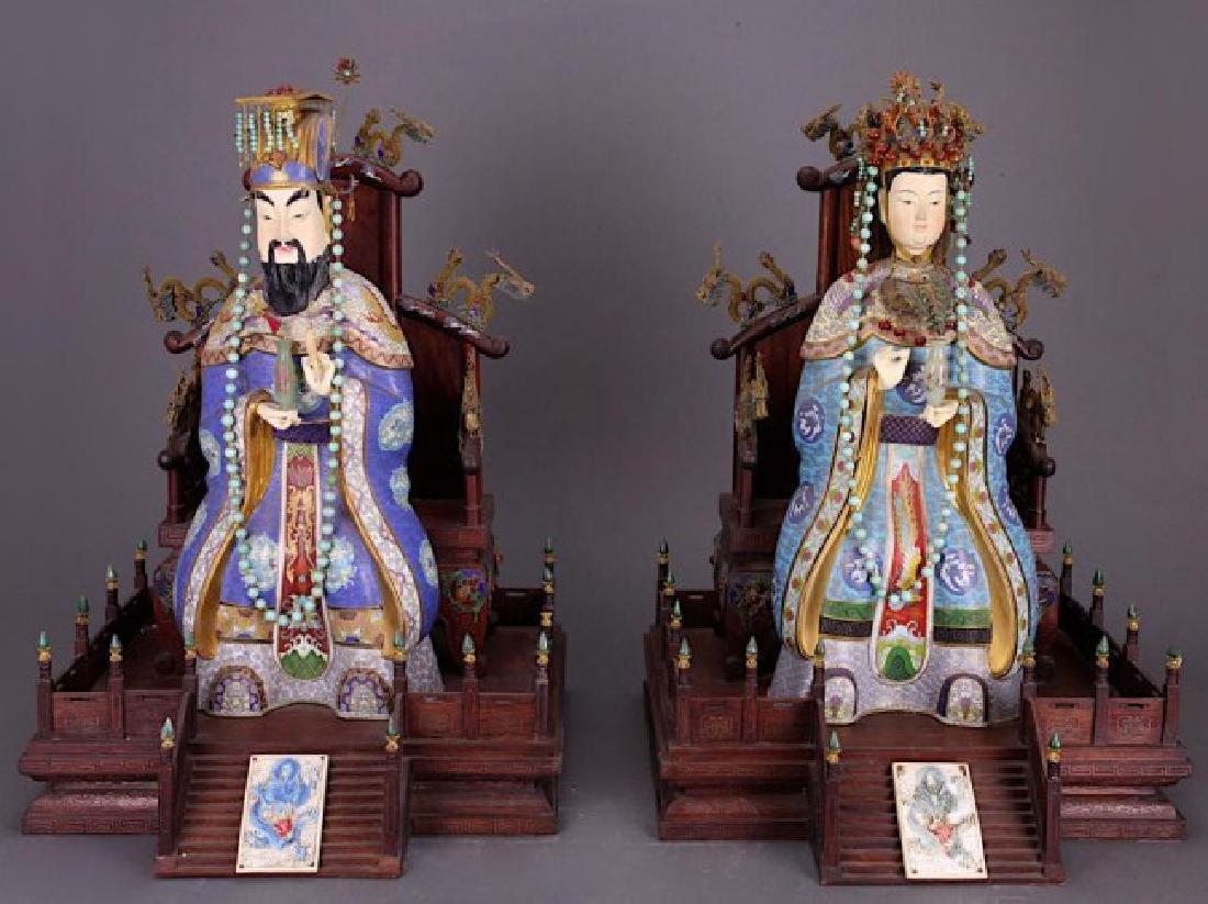 LARGE CHINESE CLOISONNE EMPEROR & EMPRESS FIGURES