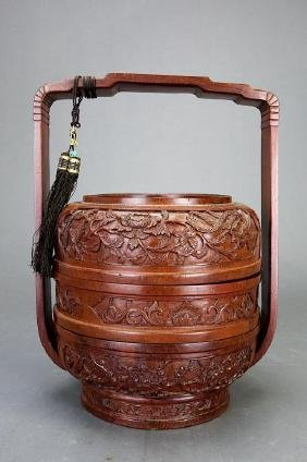 CHINESE CARVED WOOD STACKING LUNCH BOX