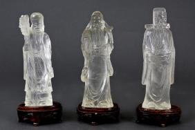 CHINESE CARVED CRYSTAL STATUES OF THREE IMMORTALS