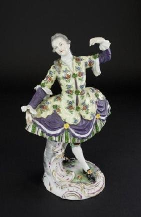GERMAN HAND PAINTED PORCELAIN FIGURE OF A MAN