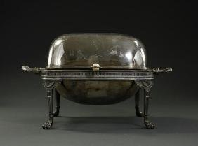 ANTIQUE SILVERED ROLL TOP BUFFET CHAFING DISH