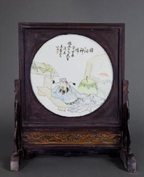 CHINESE WOODEN FRAMED PORCELAIN TILE SCREEN